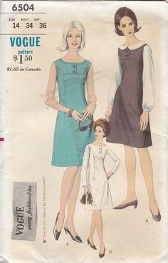Vintage 1960s Vogue Sewing Pattern 6504 Misses Dress Jumper