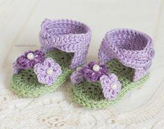 CROCHET patrones sandalias bebé violeta por HopefulHoneyDesigns