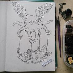 Friday sketch: Flying Octopus.
