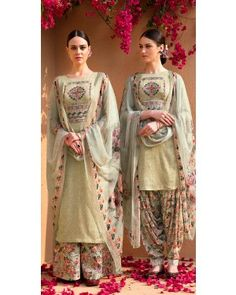 Buy Gorgeous Tea Green Cotton Patiala Suit With Resham Work - Patiala Suit for Women from Andaaz Fashion at Best Prices. Eid Dresses, Indian Dresses, Indian Outfits, Pakistani Outfits, Patiala Suit, Salwar Suits, Salwar Kameez, Punjabi Suits, India Fashion