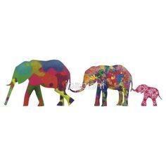 3 Colorful Elephants Holding Tails - Pop Art