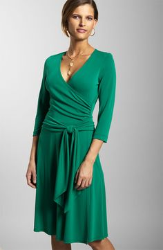 beautiful color and such a flattering dress! Everyone should have a wrap dress and a faux-wrap dress in their closet. At least one of each!!