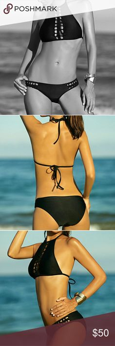 Cut Out Braid Halter Bikini Stocking my closet for summer! Arriving 1-2 weeks.  Simple yet elegant solid color bikini. Padded halter top with a cut out braid center ties at back and neck. Classic bikini cut bottoms with cut out braid sides. Medium comes in traditional black. Small and large in bold royal blue. A must have bikini that can be worn every season and never goes out of style. NOT Victoria's Secret, used for exposure. Victoria's Secret Swim Bikinis