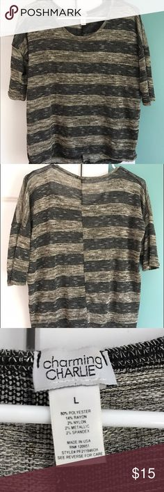 🆕 CHARMING CHARLIE : 3/4 sleeve light sweater LARGE: super cute black and gold light sweater. Please use the offer button to negotiate pricing.  No trades, PayPal or off-site transactions. 🚫 Charming Charlie Sweaters