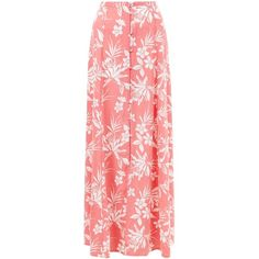 New Look Pink Tropical Print Button Front Maxi Skirt ($28) ❤ liked on Polyvore featuring skirts, pink pattern, button front skirt, red maxi skirt, patterned maxi skirt, summer skirts and long print skirt
