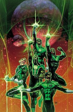 The five Green Lanterns of Earth; Hal Jordan, Guy Gardner, John Stewart, Simon Baz, and Kyle Rayner