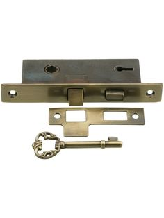 "Mortise Lock Set. Solid Brass 1"" Backset Mortise Lock in Antique-By-Hand Finish"