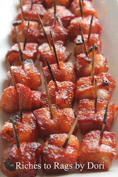 Bacon Wrapped Water Chestnuts. The sauce makes it the perfect appetizer.