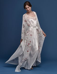 Meng SS15 luxury bridal loungewear - Cherry Blossom print silk georgette satin v neck wrap with dress - white