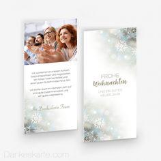 Weihnachtskarte Frohe Weihnachten 10 x 21 cm - Dankeskarte.com Cover, Thanks Card, Snow Flakes, Xmas Cards, Christmas
