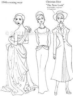 clever girl colorworks hand drawn coloring pages on etsy - Fashion Coloring Pages 2