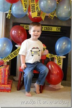 really cute police birthday party. I like the police tape as decoration.