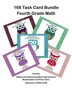 168 Task Card Bundle-Fourth Grade Math-5 Math CCSS from Mrs. Mc's Shop on TeachersNotebook.com -  (61 pages)  - This 168 Task Card Bundle provides plenty of practice for a variety of basic fourth grade math skills. If your students need practice in adding and subtracting multi-digit whole numbers, place value