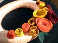 wreath with flowers (felt) Crochet Necklace, Felt, Wreaths, Flowers, Jewelry, Felting, Jewlery, Door Wreaths, Jewerly