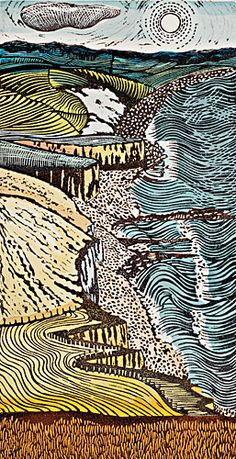 'From the Beacon to the Mouth 5', a linocut by Liz Somerville (recent work)