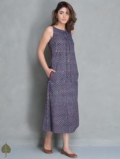 1d319068020 Buy Madder Indigo Fadat Printed Dress with Pockets by Jaypore Cotton Apparel  Tops  amp  Dresses
