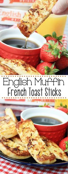 English Muffin French Toast Sticks - super easy and so fun for busy mornings! These are perfect for freezing ahead of time and packing into lunchboxes, too! #sponsored