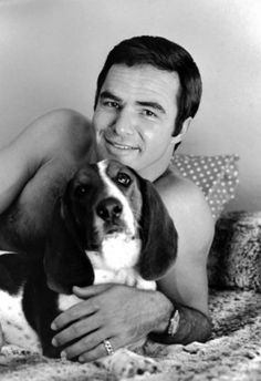 Burt Reynolds, with his dog Bertha.  1970.