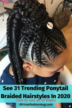 See 31 collection of the latest classy ponytail braided hairstyles for black women trending on the web. #braidedhairstyles Cornrow Ponytail, Braided Ponytail Hairstyles, Braided Hairstyles For Black Women, Ponytail Styles, African Braids Hairstyles, Braids For Black Hair, Braided Updo, Braid Styles, Cornrows