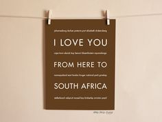 I Love You From Here To SOUTH AFRICA travel art