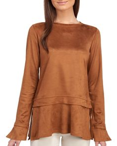 ef0db830925 Faux Suede Layered Bell Sleeve Top | Stein Mart For Less, Drop Waist,  Martini
