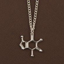Caffeine molecule necklace is the ideal gift for a coffee and science fan! Shop meteorite necklaces, molecule necklaces, space jewelry and many other science jewelry items on the IFLScience Store! Science Store, Molecule Necklace, Science Gifts, Shop Till You Drop, Polymer Clay Projects, Caffeine, Geometric Shapes, Geek Stuff, Jewelry Design