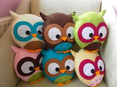 Felt owl pillows - sewing project for me & Darby