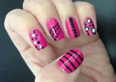 Miscellaneous pink and black nail art