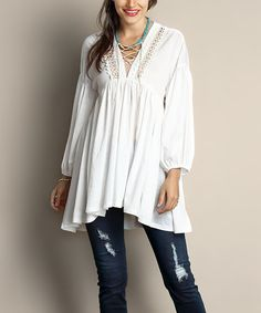 Reborn Collection White Lace Panel Peasant Tunic - Plus   zulily