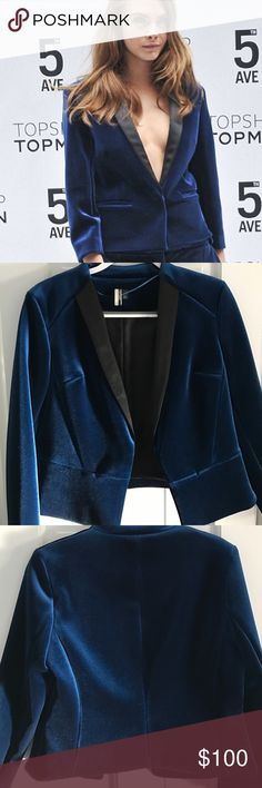Topshop velvet blazer as seen on Cara Delevingne Never worn, really beautiful piece! Perfect condition. Clasp closure. A really heavy, quality piece. Sits a bit awkwardly on the hanger but wears beautifully. Thank you for looking and feel free to ask any questions/make an offer! Please note that I do not trade and only accept offers through the offer button. Thank you again! Topshop Jackets & Coats Blazers