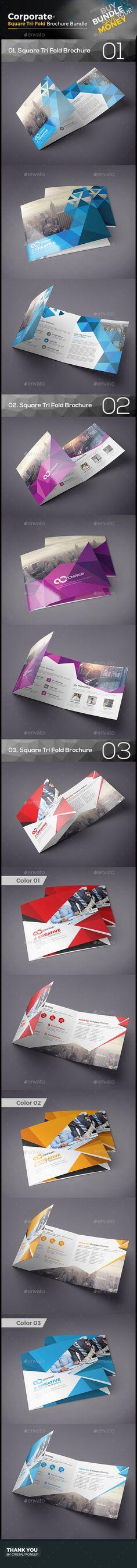 Square Tri Fold Brochure Bundle 3 in 1 - Corporate Brochure Design Template Vector EPS, Vector AI. Donwloda here: http://graphicriver.net/item/square-tri-fold-brochure-bundle-3-in-1/16500981?s_rank=9&ref=yinkira