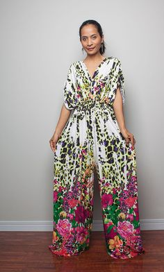 Jumpsuit Floral Print  Jumper Maxi Dress with Kimono by Nuichan, $58.00