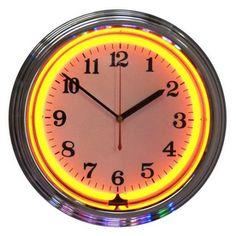 Neonetics�Standard/Arabic Numeral Orange Neon Chrome Wall Clock