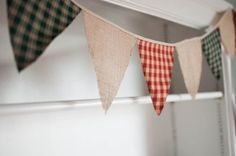 Rustic Americana Bunting Christmas Flags Burlap by Lot62designs