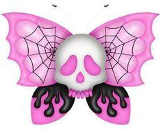 Pink Butterfly Skull Illustration | JYCTY