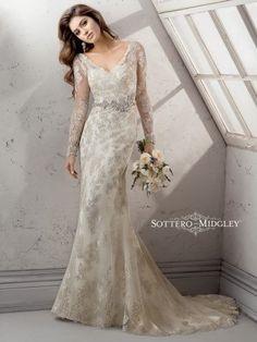 Beading Floor Illusion Sleeves Lace Long Sleeve Sheath Wedding Dresses Photos & Pictures - WeddingWire.com