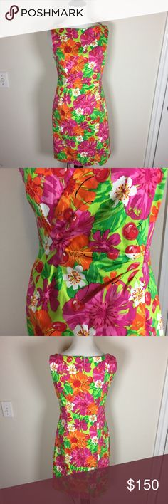 """Muse Stretchy Floral Dress Slimming fun pleats at waist. Very soft and stretchy. Flowers and cherries. 96% cotton, 4% spandex. When laid flat, 16 inches across the bust, stretches to 18 inches; and room left for boobs. When hanging on my mannequin, 34 inches long. Size 6. Ask any questions. Make an offer using the """"offer"""" button. 15% discount on bundles. (A) Muse Dresses"""