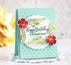 Happy Birthday Card by Laurie Schmidlin for Papertrey Ink (February 2018)