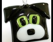 Glassworks Northwest - Black and White - Fused Glass Dog Friend Ornament