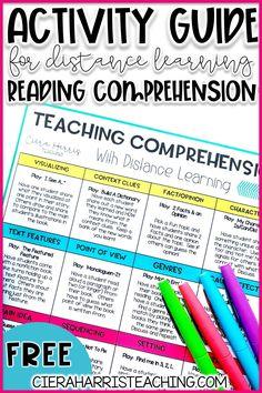 Guided Reading Activities, Reading Comprehension Activities, Vocabulary Activities, Reading Fluency, Teaching Reading, Learning, Teacher Blogs, Teacher Stuff, Fourth Grade