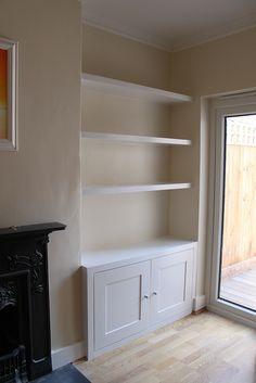 white wood alcove cabinet panel - Google Search