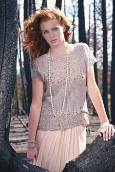 Quartz Lace Top by Dora Ohrenstein. Lace Baby Merino. Pearl color. Interweave Crochet Winter