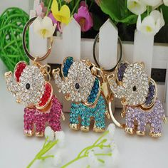 Fashion Accessories Crystal Lucky Elephant Keychain Car And Rhinestone Bag Buckle Gift Jewelry HB88(China (Mainland))