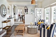 Great feel, color, and flow. Transitional flowing living room. Open, Bright, crisp, beige, blue, white, natural, nautical.