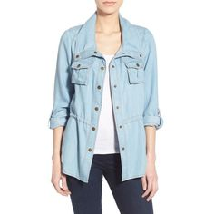 KUT from the Kloth 'Chase' Denim Jacket ($98) ❤ liked on Polyvore featuring outerwear, jackets, light blue, stand collar jacket, kut from the kloth jacket, blue jackets, long sleeve jacket and jean jacket