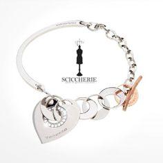 Rebecca Gioielli Collezione San Valentino.  Bracciale in acciaio e bronzo bagnato in oro rosa.  #sciccherie #rebeccajewels #sanvalentino