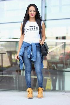 Outfit Ideas To Wear Timberland Boots For Girl That You Must Source by WoodsTimberlandBoots ideas oficina Timberland Outfits, Mode Timberland, Timberland Stiefel Outfit, Timberland Heels, Timberland Fashion, Look Fashion, Fashion Pants, Autumn Fashion, Fashion Outfits