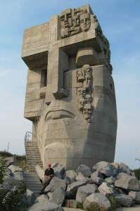 The famous monument remembering those who died building the road of bones and in the gulags