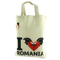 """Indispensabila oricarui cumparator, aceasta sacosa rezistenta din in aduce cu sine o particica din Romania.Sosita din inima Transilvaniei, unde legenda lui Dracula inca mai dainuie, aceasta sacosa este personalizata cu elemente imprimate in nuante de rosu aprins si negru, ce amintesc de mult-temutul """"vampir"""".(I love Romania bag, inspired by Dracula) Dracula, Custom Art, Romania, Reusable Tote Bags, My Love, Souvenir, My Boo, Bram Stoker's Dracula"""