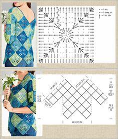 Crochet Mandala, Crochet Granny, Crochet Flowers, Crochet Top, Crochet Chart, Crochet Patterns, Crochet Wedding, Granny Square Blanket, Summer Tops